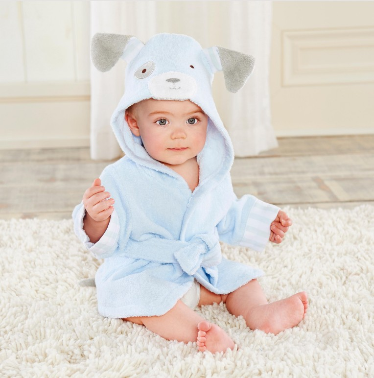 Baby Blue Dog Bathrobe Tracksuit Thicken Cute Cartoon Animal Hooded Sleepwear