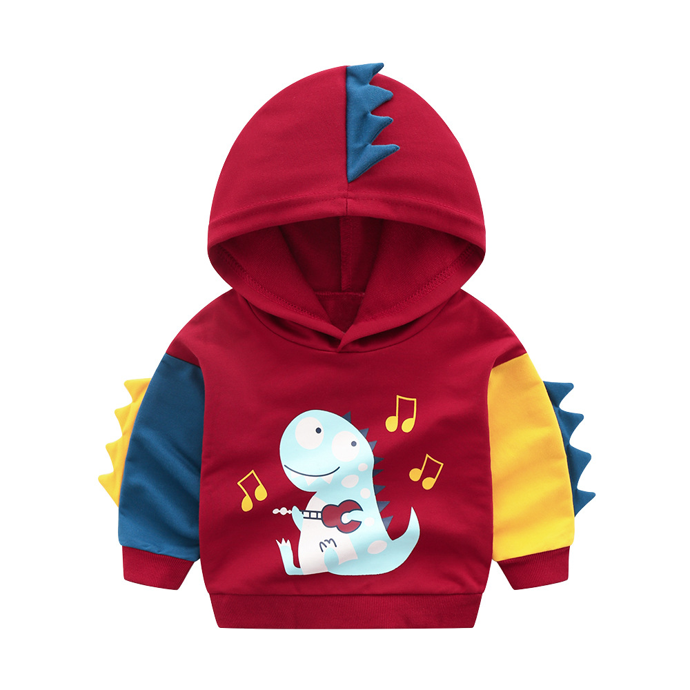 Toddler Boys 3D Print Cute Dinosaur Cartoon Color Matching Long Sleeve Hoodie Sweatshirts
