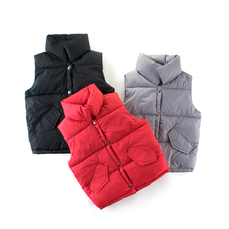 Toddler Boys Pure Color Warm Cotton Padded Puff Vests