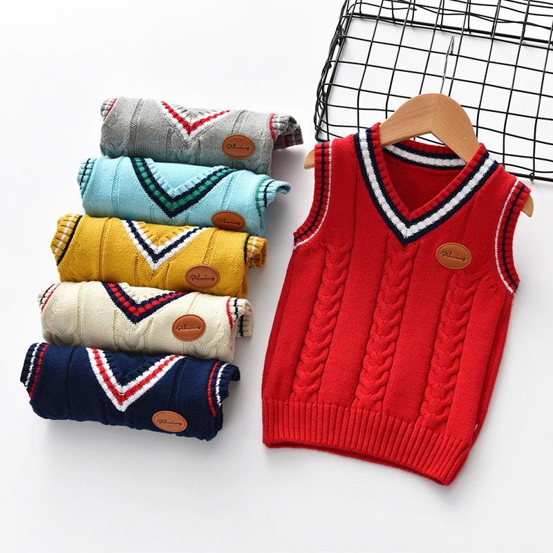 Toddler Boys Cable Knit Pullover Vest V Neck Sweater