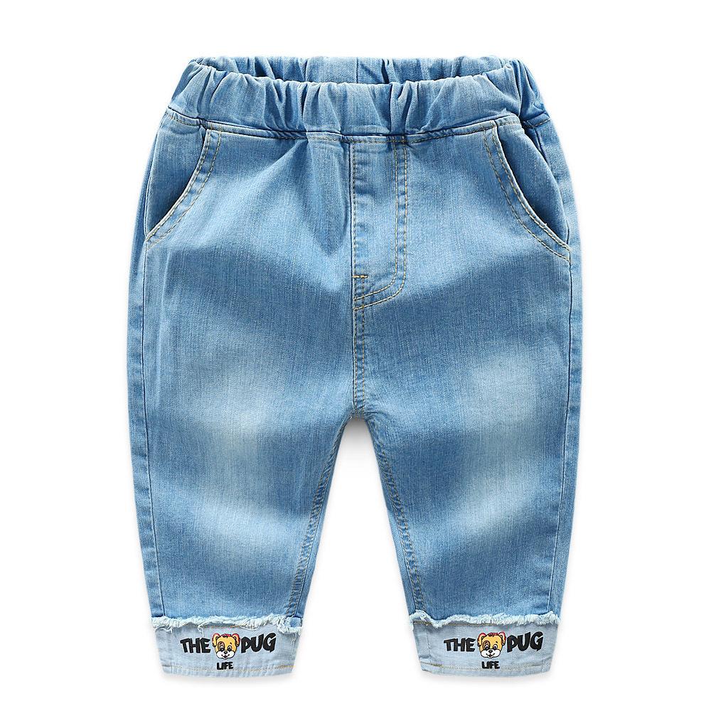 Toddler Boys Print Cartoon Letter Denim High Quality Jeans Pants