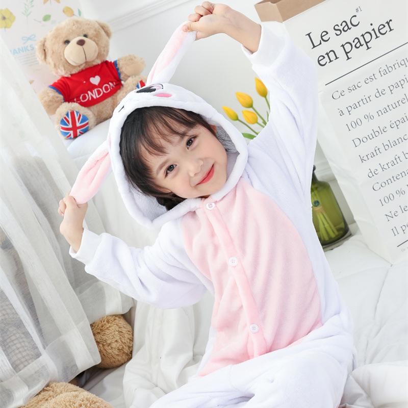 Kids White Pink Rabbit Onesie Kigurumi Pajamas Kids Animal Costumes for Unisex Children