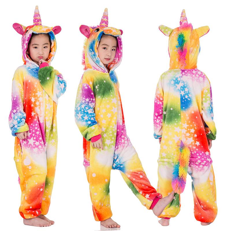 Kids Colorful Silver Stars Unicorn Onesie Kigurumi Pajamas Kids Animal Costumes for Unisex Children