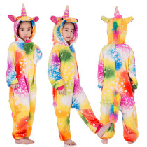 Kids Colorful Silver Stars Unicorn Onesie Kigurumi Pajamas Kids Animal Costumes for Unisex Children
