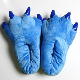 Cozy Blue Flannel House Monster Slippers Halloween Animal Costume Paw Claw Shoes