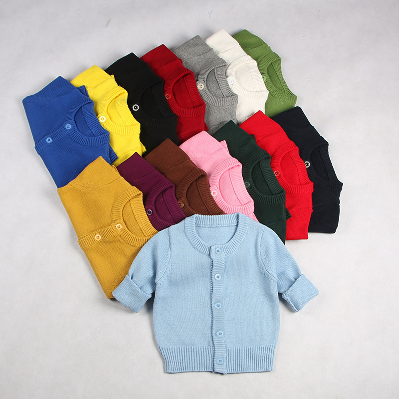 Toddler Boy Knit Cardigan Pure Color Sweater