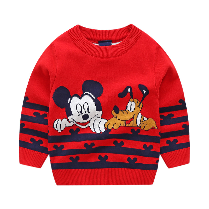 Toddler Boys Knit Pullover Sweater Cartoon Mickey & Donald Pattern