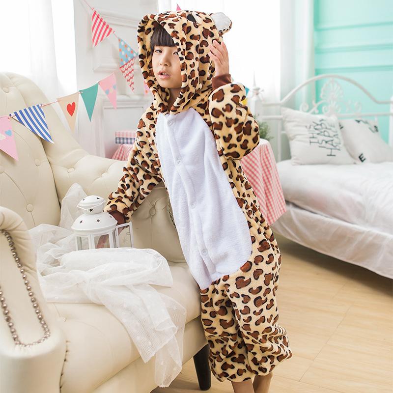 Kids Brown Leopard Onesie Kigurumi Pajamas Kids Animal Costumes for Unisex Children