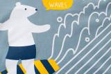 Blue Cute Cartoon White Bear Graphics Cotton T-shirt