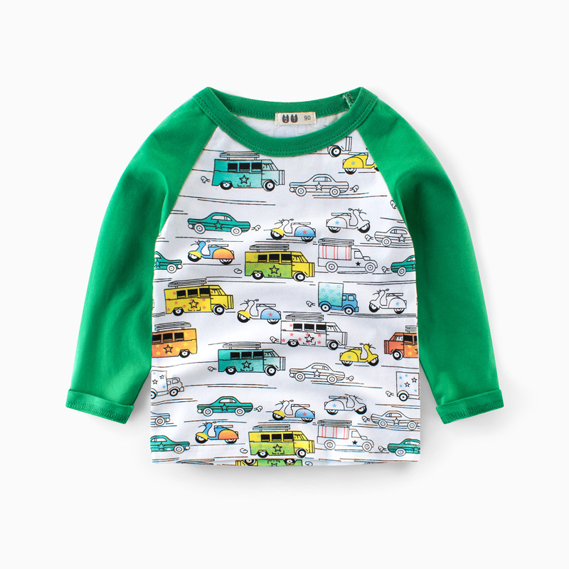 Cartoon Cars Cotton Long Sleeve T-shirt