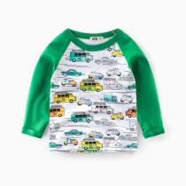 Cartoon Cars Cotton Long Sleeve T-shirt