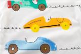 White Cute Cartoon Racing Cars Graphics Cotton T-shirt