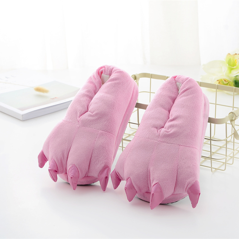 Cozy Light Pink Flannel House Monster Slippers Halloween Animal Costume Paw Claw Shoes