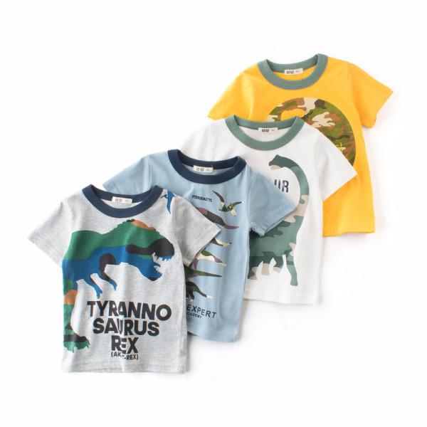 White Print Dinosaur Round Neck Cotton Short T-shirt