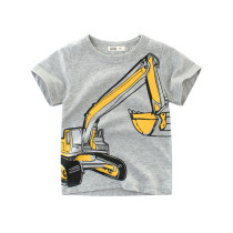 Grey Print Cute Machineshop Car Cotton Short T-shirt