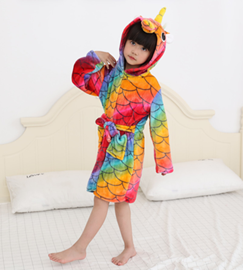 Kids Colorful Fish Scale Unicorn Soft Bathrobe Sleepwear Comfortable Loungewear