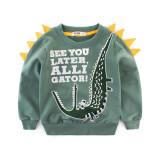 Green Cartoon Print Crocodile Sweatershirt