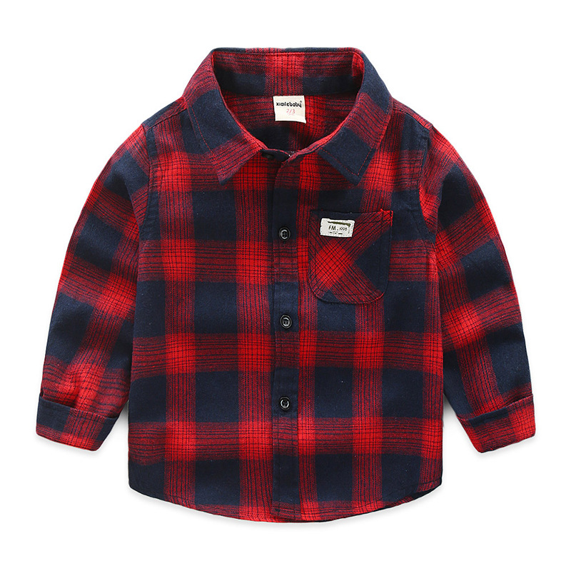 Toddler Boys Red and Navy Fleece Cotton Plaid Shirt