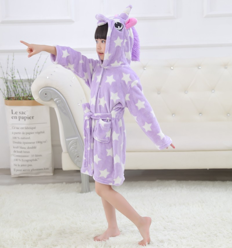 Kids Purple Unicorn Stars Soft Bathrobe Sleepwear Comfortable Loungewear