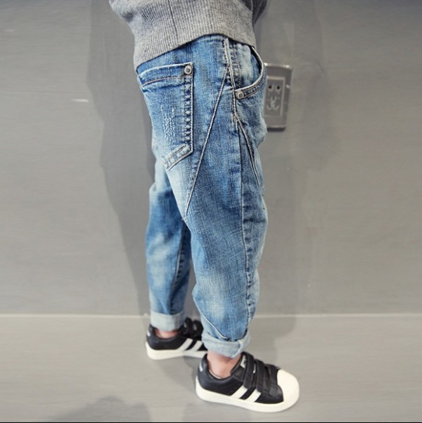Toddler Boys Blue Ripped Denim Line Design Jeans Pants