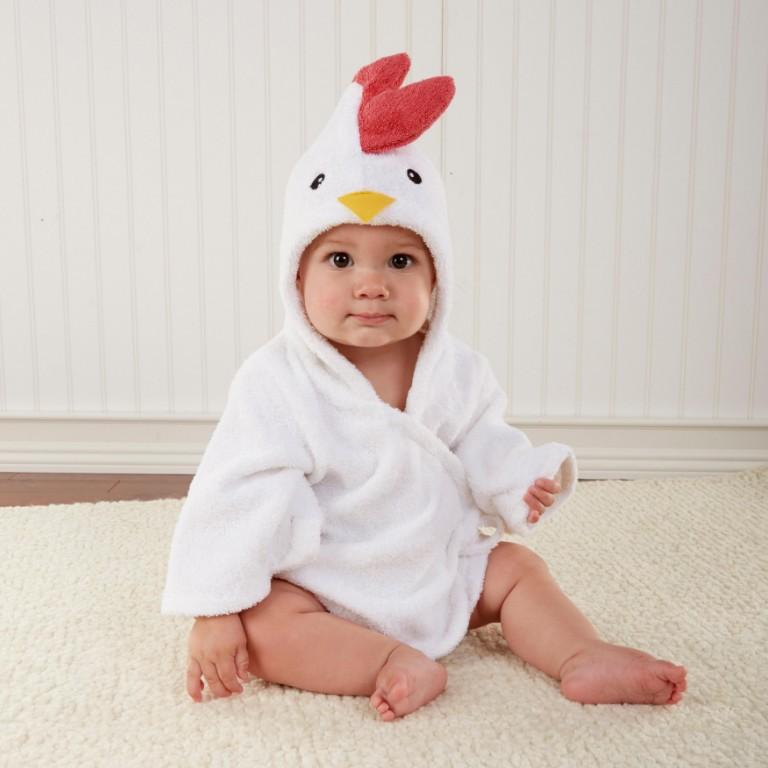 Baby White Chick Bathrobe Tracksuit Thicken Cute Cartoon Animal Hooded Sleepwear