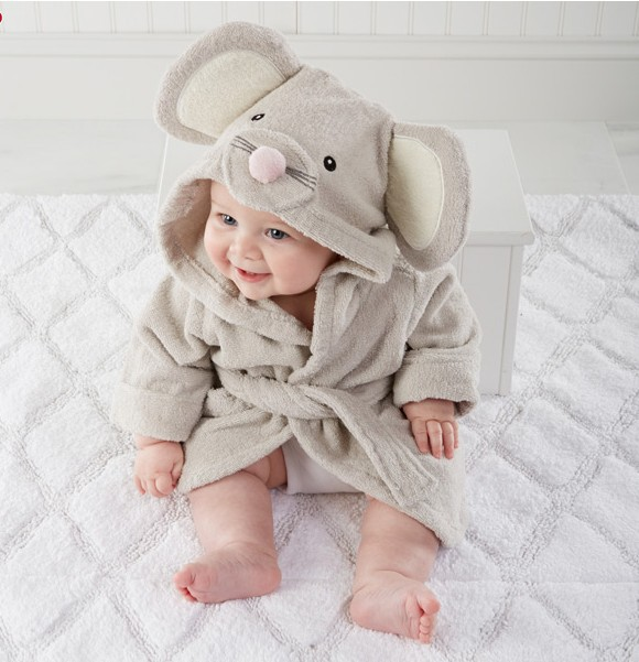 Baby Grey Mouse Bathrobe Tracksuit Thicken Cute Cartoon Animal Hooded Sleepwear