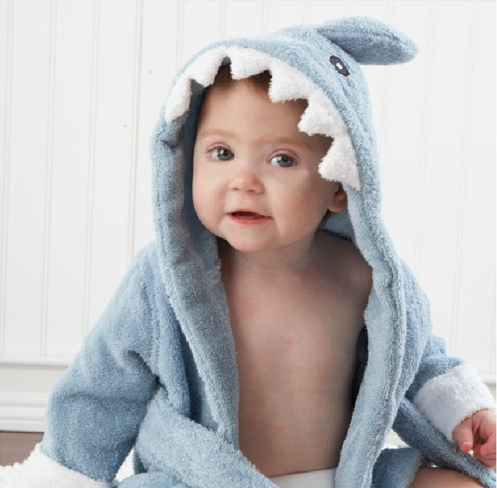 Baby Pink Shark Bathrobe Tracksuit Thicken Cute Cartoon Animal Hooded Sleepwear