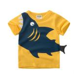 Print 3D Shark Cotton Short Green T-shirt