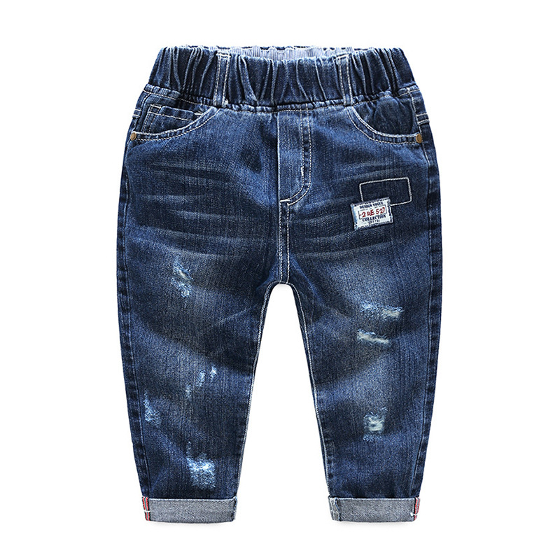 Toddler Boys Dark Blue Ripped Denim High Quality Jeans Pants