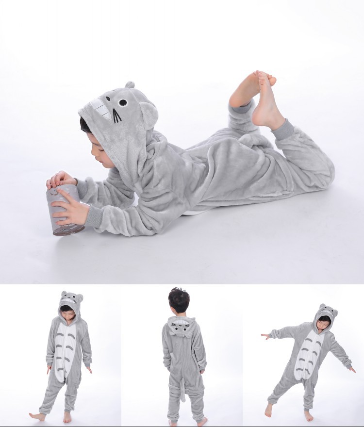 Kids Grey Totoro Onesie Kigurumi Pajamas Kids Animal Costumes for Unisex Children