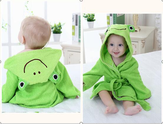 Baby Green Frog Bathrobe Tracksuit Thicken Cute Cartoon Animal Hooded Sleepwear