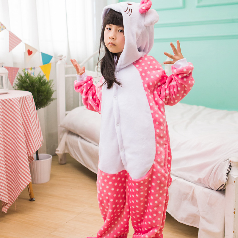 Kids Hello Kitty Onesie Kigurumi Pajamas Kids Animal Costumes for Unisex Children