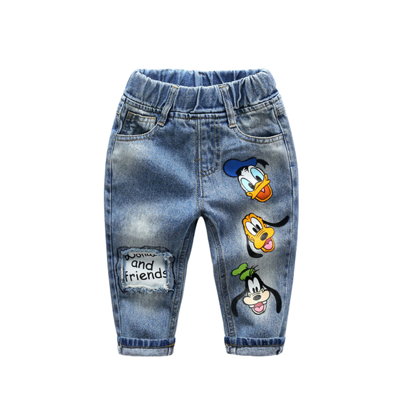 Toddler Boys Print Donald Duck Cartoon Jeans Pants