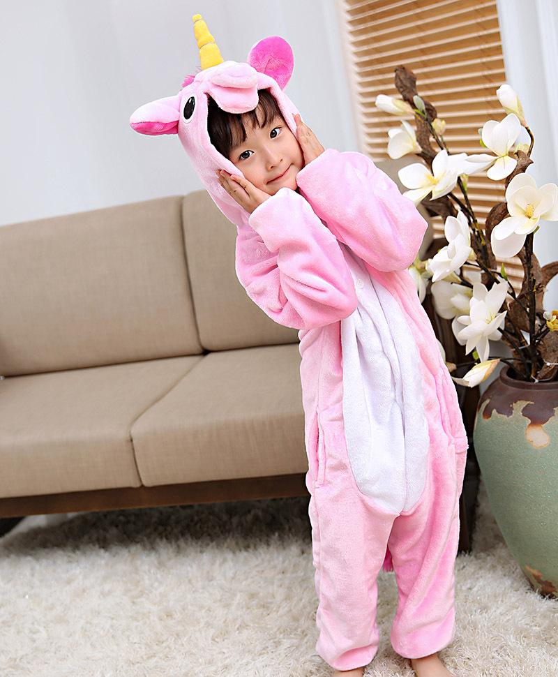 Kids Yellow Horn Unicorn Onesie Kigurumi Pajamas Kids Animal Costumes for Unisex Children