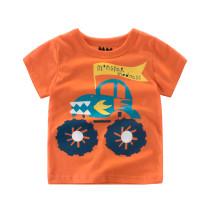 Orange Slogan Cartoon Car Graphics Cotton T-shirt