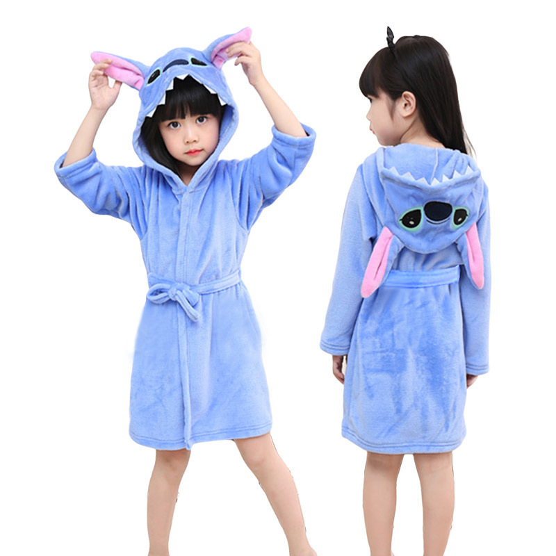 Kids Blue Stitch Soft Bathrobe Sleepwear Comfortable Loungewear