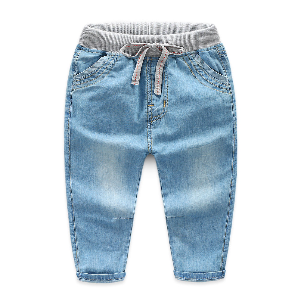 Toddler Boys Elastic Mid Waist Washed Denim Full Length Straight Jeans Pants