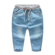 Toddler Boys Elastic Mid Waist Washed Denim Full Length Straight Jeans Pants