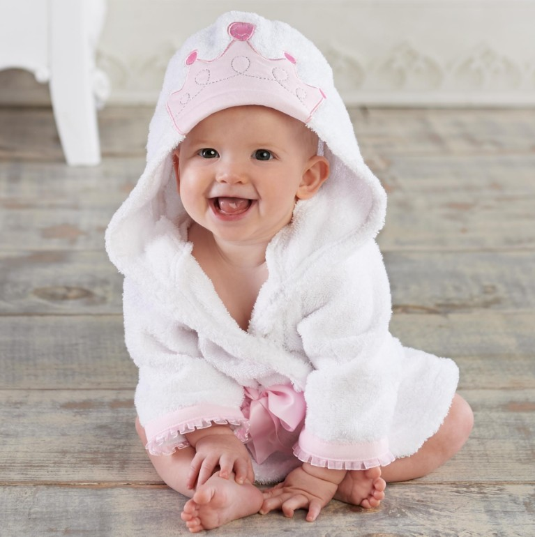 Baby White Princess Bathrobe Tracksuit Thicken Cute Cartoon Animal Hooded Sleepwear