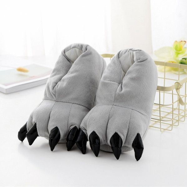 Cozy Grey Flannel House Monster Slippers Halloween Animal Costume Paw Claw Shoes