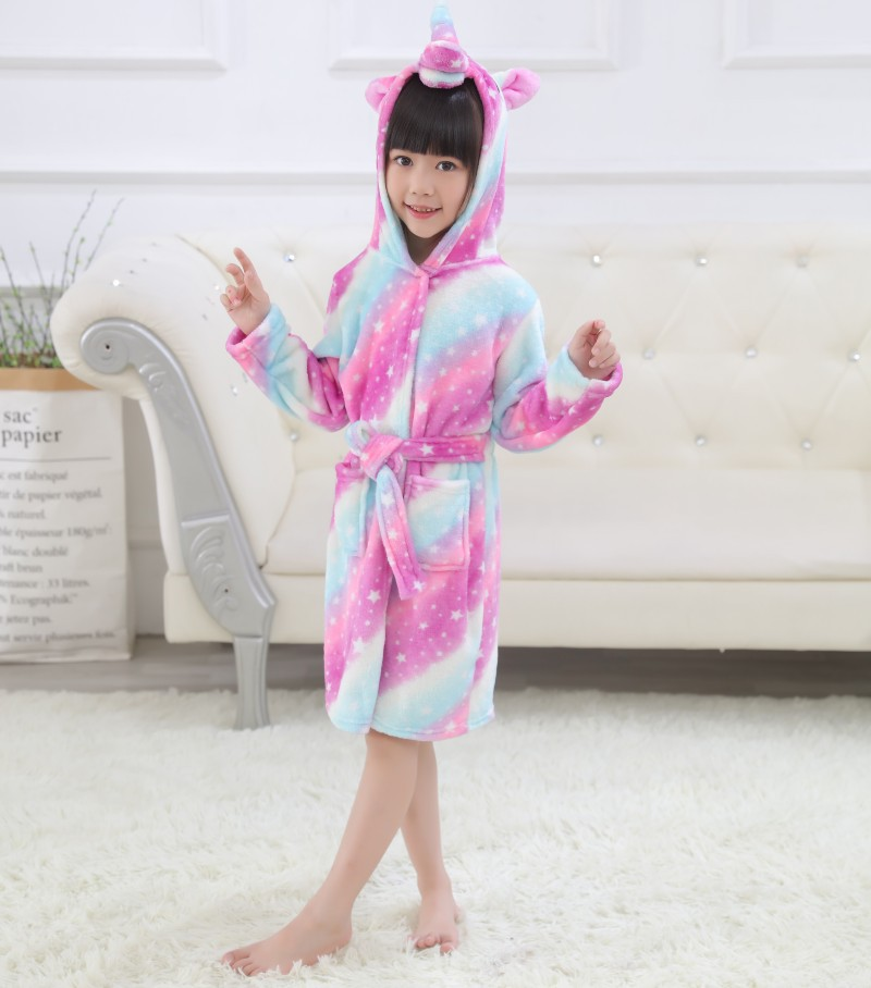 Kids 3 Colors Stripes Unicorn Soft Bathrobe Sleepwear Comfortable Loungewear