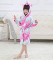 Kids 3 Colors Stripes Unicorn Soft Bathrobe Sleepwear Comfortable Loungewear