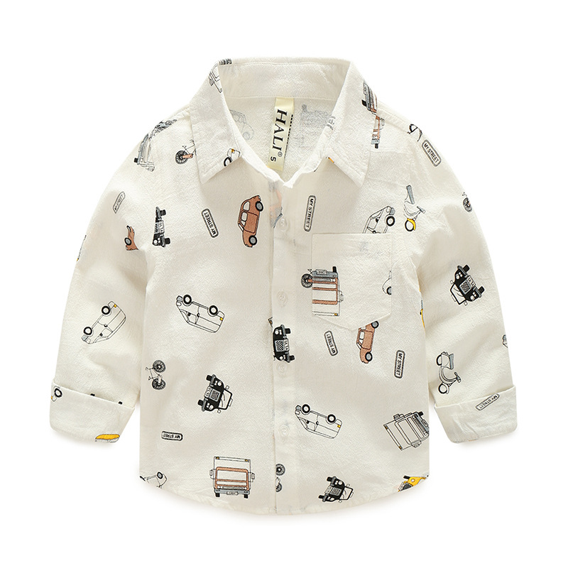 Toddler Boys White Print Cars Long Sleeve Shirt