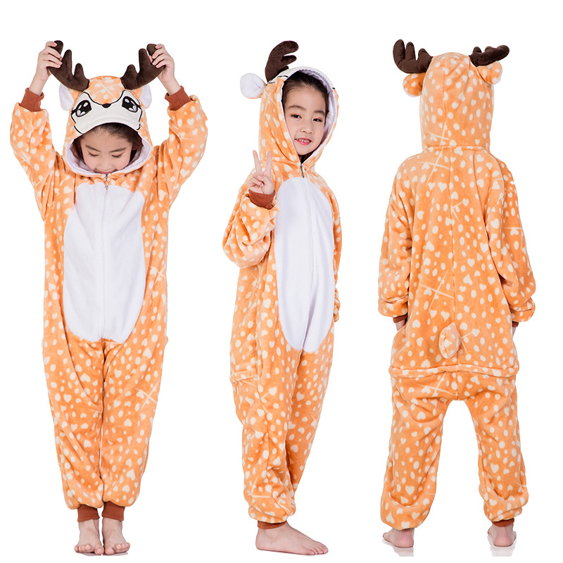 Kids Orange Deer Onesie Kigurumi Pajamas Kids Animal Costumes for Unisex Children