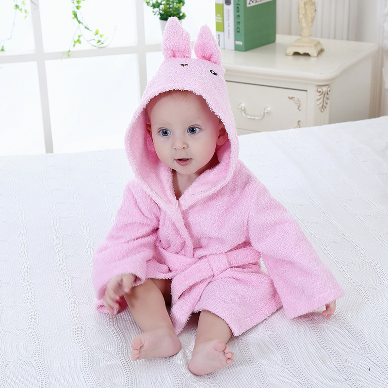 Baby Rabbit Bathrobe Tracksuit Thicken Cute Cartoon Animal Hooded Sleepwear