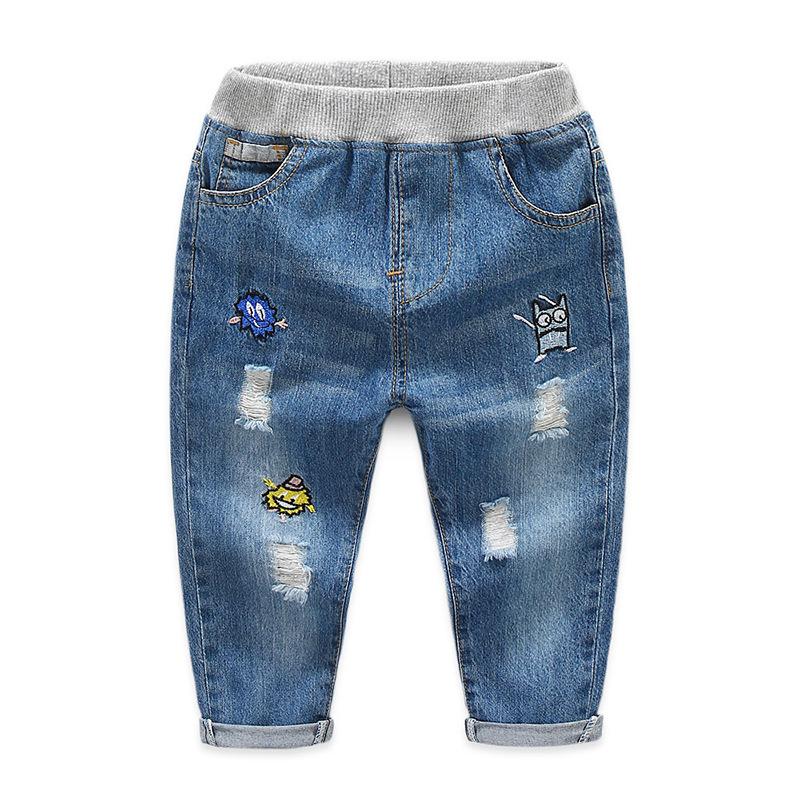 Toddler Boys Print Cartoon Ripped Denim High Quality Jeans Pants