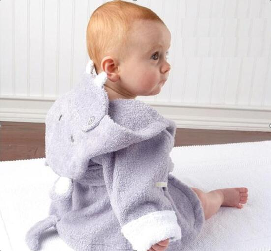 Baby Grey Hippo Bathrobe Tracksuit Thicken Cute Cartoon Animal Hooded Sleepwear