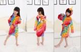 Kids Colorful Fish Scale Unicorn Soft Bathrobe Sleepwear Comfortable Loungewear