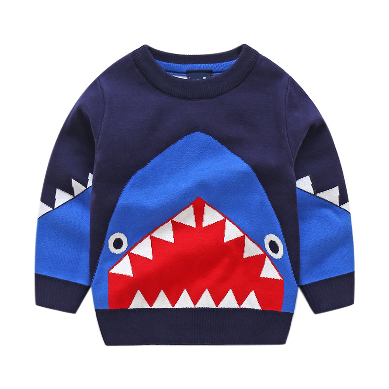 Toddler Boys Knit Pullover Sweater Shark Pattern