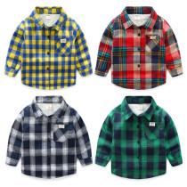 Toddler Boys Multicolor Thicken Wool Fleece Cotton Plaid Shirt